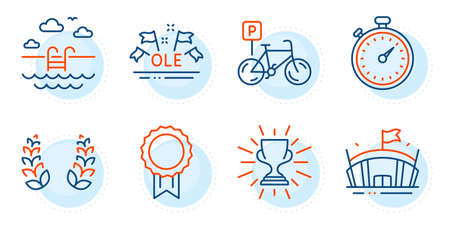 Ole chant, Laurel wreath and Swimming pool signs. Timer, Trophy and Bicycle parking line icons set. Reward, Arena symbols. Stopwatch gadget, Winner cup. Sports set. Outline icons set. Vector