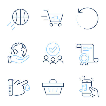 Shopping basket, Shopping cart and Blood donation line icons set. Diploma certificate, save planet, group of people. Recovery data, Basketball and Music phone signs. Vector Ilustração