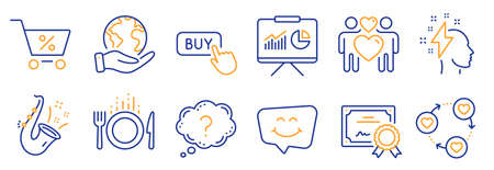 Set of Business icons, such as Question mark, Special offer. Certificate, save planet. Smile chat, Brainstorming, Jazz. Love couple, Friends community, Food. Vector