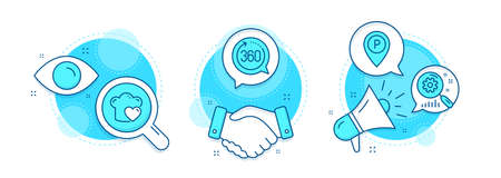 360 degrees, Search statistics and Parking line icons set. Handshake deal, research and promotion complex icons. Love cooking sign. Full rotation, Analysis, Park pointer. Chef hat. Vector Illusztráció