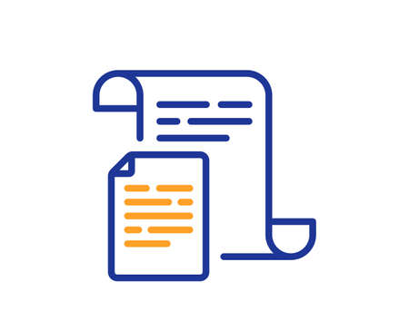 Documents line icon. Doc file page sign. Office note symbol. Colorful thin line outline concept. Linear style documents icon. Editable stroke. Vector