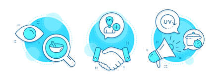 Add person, Uv protection and Cooking mix line icons set. Handshake deal, research and promotion complex icons. Boiling pan sign. Edit user data, Skin cream, Bowl. Cooking timer. Vector 向量圖像