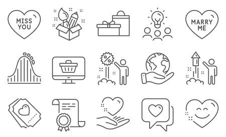 Set of Holidays icons, such as Hold heart, Roller coaster. Diploma, ideas, save planet. Smile chat, Love ticket, Creativity. Gifts, Marry me, Web shop. Fireworks, Heart, Miss you. Vector