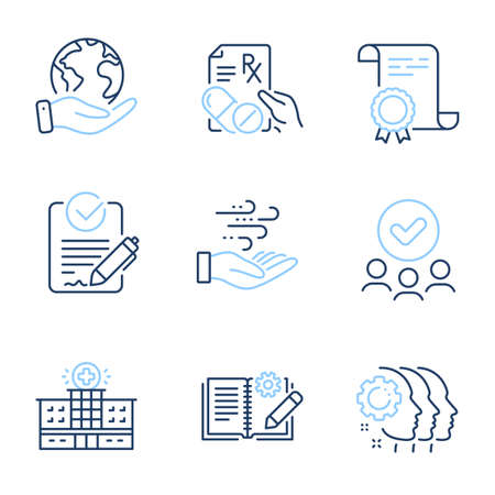 Employees teamwork, Hospital building and Rfp line icons set. Diploma certificate, save planet, group of people. Wind energy, Engineering documentation and Prescription drugs signs. Vector