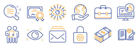 Set of Business icons, such as Artificial intelligence, Survey. Certificate, save planet. Like video, Portfolio, Password encryption. Usd currency, Mail, Skin condition. Vector 向量圖像