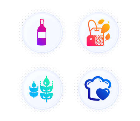 Gluten free, Mint bag and Wine bottle icons simple set. Button with halftone dots. Love cooking sign. Bio ingredients, Mentha tea, Cabernet sauvignon. Chef hat. Food and drink set. Vector