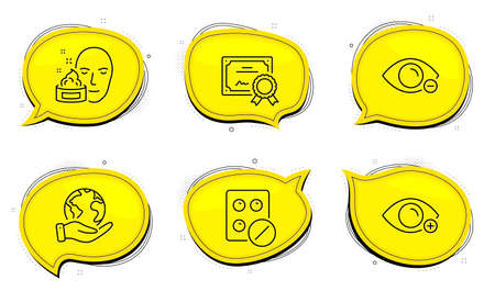 Myopia sign. Diploma certificate, save planet chat bubbles. Farsightedness, Medical tablet and Face cream line icons set. Eye vision, Medicine pill, Gel. Healthcare set. Outline icons set. Vector