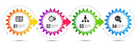 Cogwheel timer, Management and Technical info icons simple set. Timeline steps infographic. New products sign. Engineering tool, Agent, Documentation. Search. Technology set. Vector