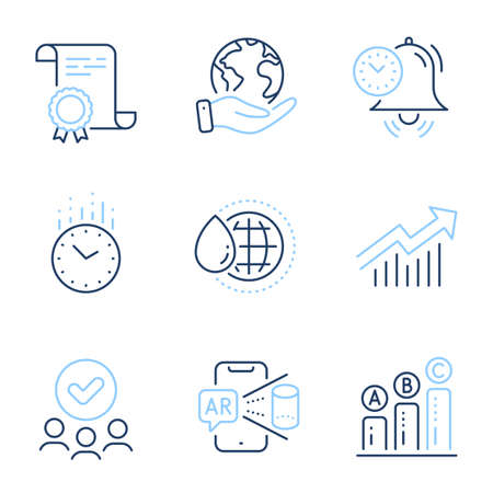 Time management, World water and Time line icons set. Diploma certificate, save planet, group of people. Demand curve, Augmented reality and Graph chart signs. Alarm clock, Aqua drop, Clock. Vector Ilustracja
