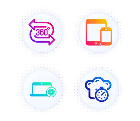 Notebook service, 360 degree and Mobile devices icons simple set. Button with halftone dots. Cooking timer sign. Computer repair, Virtual reality, Smartphone with tablet. Stopwatch. Vector
