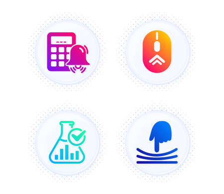 Chemistry lab, Swipe up and Calculator alarm icons simple set. Button with halftone dots. Elastic sign. Laboratory flask, Scrolling page, Accounting. Resilience. Technology set. Vector