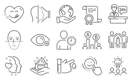 Set of People icons, such as Yummy smile, Face recognition. Diploma, ideas, save planet. Skin care, Face id, Partnership. Smile, Farsightedness, Heart. Vector