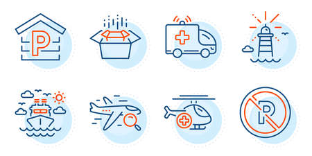 No parking, Parking and Ambulance car signs. Lighthouse, Packing boxes and Ship travel line icons set. Medical helicopter, Search flight symbols. Navigation lighthouse, Delivery box. Vector Vektoros illusztráció