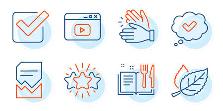 Approved, Video content and Leaf signs. Corrupted file, Checkbox and Star line icons set. Recipe book, Clapping hands symbols. Damaged document, Approved tick. Business set. Outline icons set. Vector Vector Illustratie
