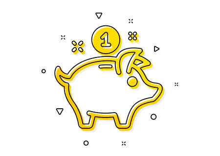 Piggy bank sign. Saving money icon. Yellow circles pattern. Classic saving money icon. Geometric elements. Vector