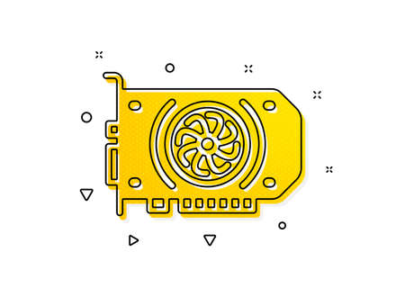 Computer component hardware sign. Gpu graphic card icon. Yellow circles pattern. Classic gpu icon. Geometric elements. Vector