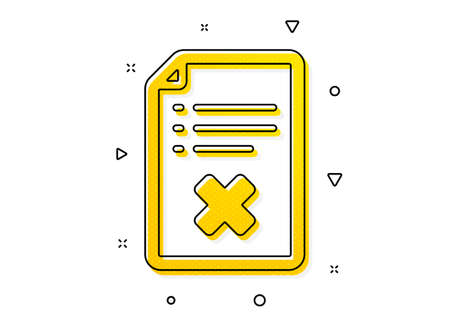 Decline document sign. Reject file icon. Delete file. Yellow circles pattern. Classic reject file icon. Geometric elements. Vector