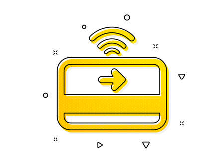 Credit card sign. Contactless payment icon. Finance symbol. Yellow circles pattern. Classic contactless payment icon. Geometric elements. Vector