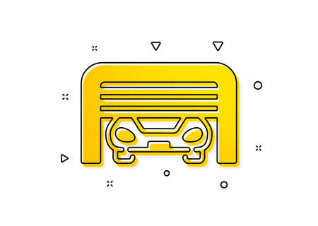 Auto park sign. Parking garage icon. Car place symbol. Yellow circles pattern. Classic parking garage icon. Geometric elements. Vector