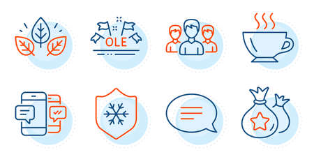 Organic tested, Chat and Ole chant signs. Group, Clean skin and Loyalty points line icons set. Coffee, Smartphone sms symbols. Group of people, Cold protect. Business set. Outline icons set. Vector