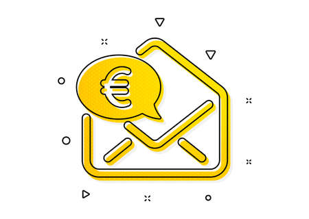 Send or receive money sign. Euro via mail icon. Yellow circles pattern. Classic euro money icon. Geometric elements. Vector