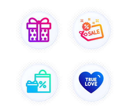 Shopping, Gift box and Sale icons simple set. Button with halftone dots. True love sign. Gifts and sales, Present package, Shopping tag. Sweet heart. Holidays set. Gradient flat shopping icon. Vector Illusztráció