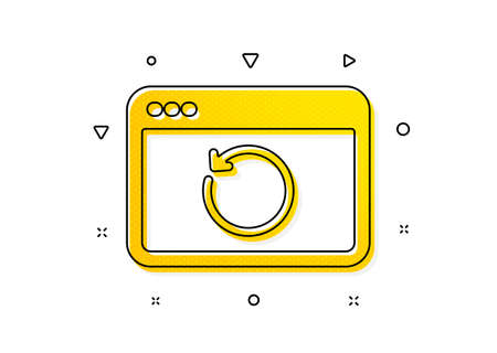 Backup data sign. Recovery internet icon. Restore information symbol. Yellow circles pattern. Classic recovery internet icon. Geometric elements. Vector