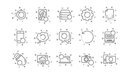 Backup, Restore data and recover file. Recovery line icons. Laptop renew, drive repair and phone recovery icons. Linear set. Geometric elements. Quality signs set. Vector Illustration
