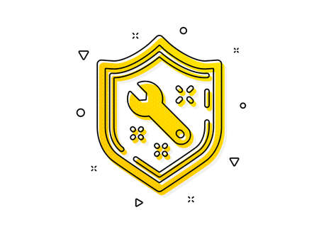 Repair service sign. Spanner tool icon. Shield protection symbol. Yellow circles pattern. Classic spanner icon. Geometric elements. Vector