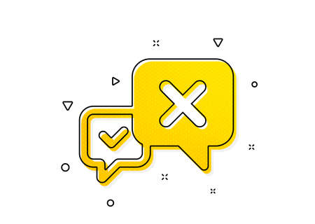 Decline or remove chat sign. Reject message icon. Yellow circles pattern. Classic reject icon. Geometric elements. Vector Illusztráció