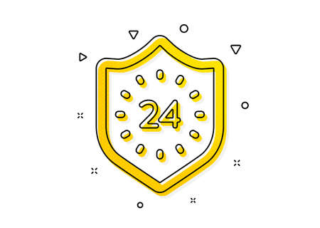 Shield sign. 24 hours protection icon. Yellow circles pattern. Classic 24 hours icon. Geometric elements. Vector Illusztráció