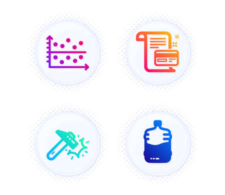 Payment card, Hammer blow and Dot plot icons simple set. Button with halftone dots. Cooler bottle sign. Agreement conditions, Crash tool, Presentation graph. Water drink. Business set. Vector