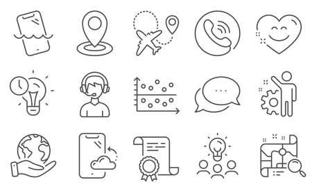 Set of Technology icons, such as Location, Smartphone waterproof. Diploma, ideas, save planet. Employee, Time management, Search map. Smartphone cloud, Airplane, Consultant. Vector