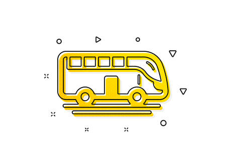 Transportation sign. Bus tour transport icon. Tourism or public vehicle symbol. Yellow circles pattern. Classic bus tour icon. Geometric elements. Vector