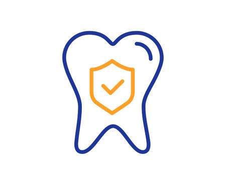 Dental insurance line icon. Oral medicine risk coverage sign. Teeth care symbol. Colorful thin line outline concept. Linear style dental insurance icon. Editable stroke. Vector