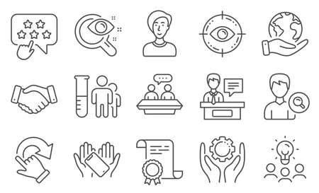 Set of People icons, such as Smartphone holding, Businesswoman person. Diploma, ideas, save planet. Vision test, Employee hand, Employees handshake. Vector Illusztráció