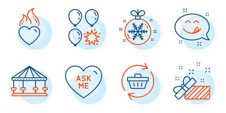 Christmas ball, Ask me and Heart flame signs. Carousels, Balloon dart and Present line icons set. Yummy smile, Refresh cart symbols. Attraction park, Gift. Holidays set. Outline icons set. Vector
