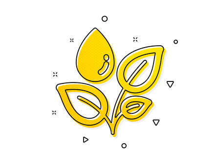 Leaves dew sign. Plants watering icon. Environmental care symbol. Yellow circles pattern. Classic plants watering icon. Geometric elements. Vector