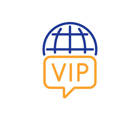 Vip internet line icon. Very important person wifi access sign. Member club privilege symbol. Colorful thin line outline concept. Linear style vip internet icon. Editable stroke. Vector