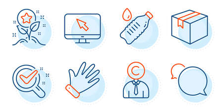Chemistry lab, Parcel and Messenger signs. Hand, Internet and Copyrighter line icons set. Water bottle, Loyalty points symbols. Waving palm, Monitor with cursor. Business set. Vector