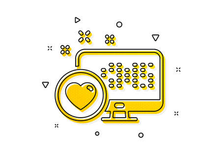 Favorite like sign. Heart icon. Positive feedback symbol. Yellow circles pattern. Classic heart icon. Geometric elements. Vector