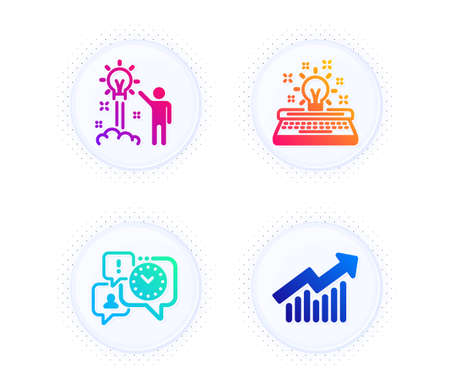Creative idea, Time management and Typewriter icons simple set. Button with halftone dots. Demand curve sign. Startup, Office chat, Inspiration. Statistical report. Education set. Vector