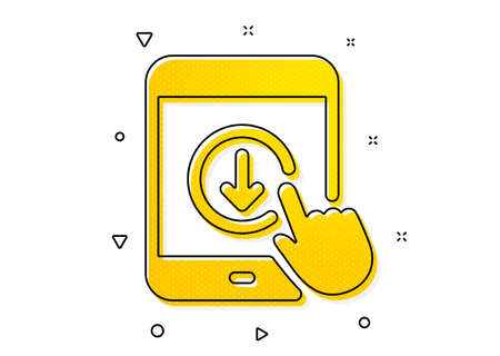 Scrolling screen sign. Scroll down tablet pc icon. Swipe page. Yellow circles pattern. Classic scroll down icon. Geometric elements. Vector