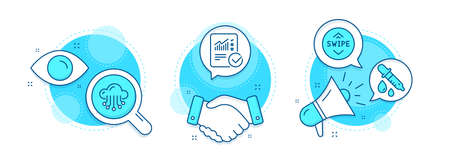 Chemistry pipette, Checked calculation and Cloud storage line icons set. Handshake deal, research and promotion complex icons. Swipe up sign. Laboratory, Statistical data, Data service. Vector