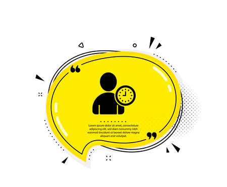 User with Clock icon. Quote speech bubble. Profile Avatar with Time sign. Person silhouette symbol. Quotation marks. Classic time management icon. Vector Illusztráció