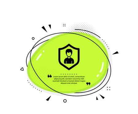 User Protection icon. Quote speech bubble. Profile Avatar with shield sign. Male Person silhouette symbol. Quotation marks. Classic security Agency icon. Vector