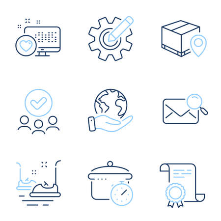 Search mail, Parcel tracking and Boiling pan line icons set. Diploma certificate, save planet, group of people. Cogwheel, Bumper cars and Heart signs. Vector