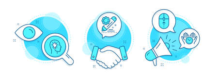 Idea head, Safe time and Swipe up line icons set. Handshake deal, research and promotion complex icons. Project edit sign. Lightbulb, Hold clock, Scrolling page. Settings. Science set. Vector