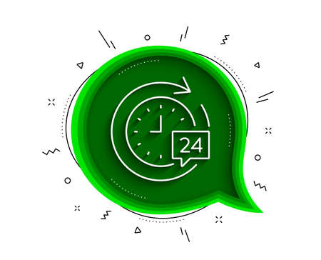 24 hours delivery line icon. Chat bubble with shadow. Time or stopwatch sign. Thin line 24h delivery icon. Vector