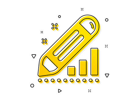 Pencil chart sign. Edit statistics icon. Seo management symbol. Yellow circles pattern. Classic edit statistics icon. Geometric elements. Vector
